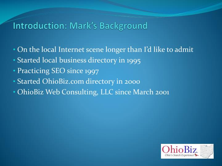 Introduction: Mark's Background