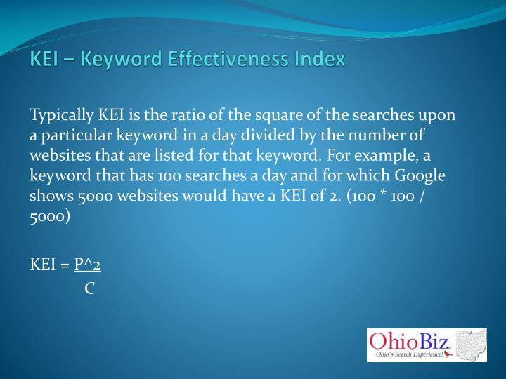 KEI – Keyword Effectiveness Index