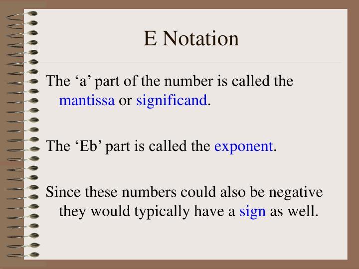 E Notation