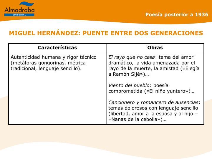 MIGUEL HERNÁNDEZ: PUENTE ENTRE DOS GENERACIONES