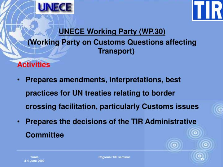 UNECE Working Party (WP.30)