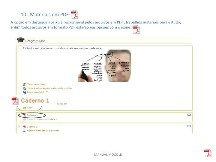 10.  Materiais em PDF.