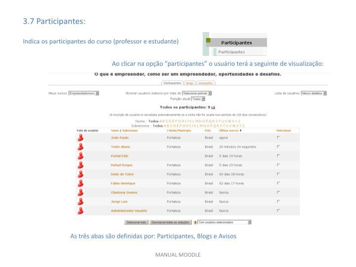 3.7 Participantes: