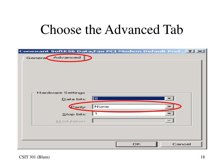 Choose the Advanced Tab