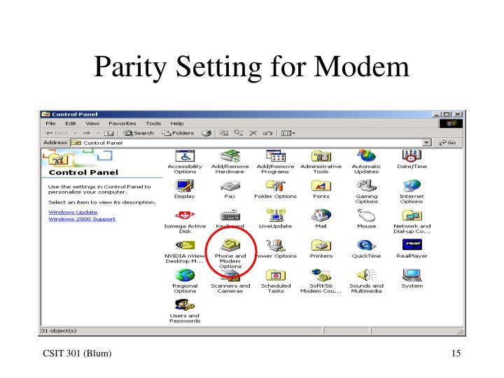 Parity Setting for Modem