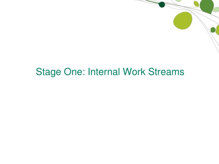 Stage One: Internal Work Streams
