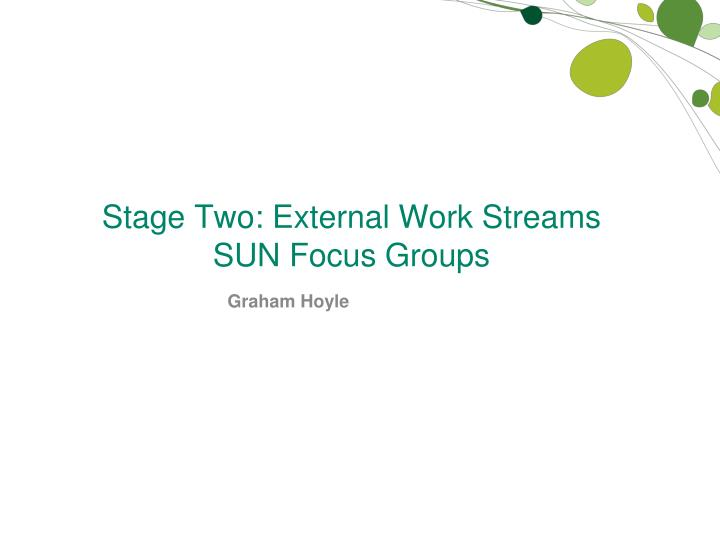 Stage Two: External Work Streams   SUN Focus Groups