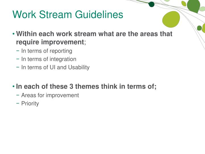 Work Stream Guidelines