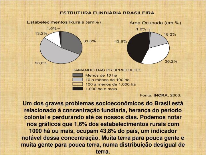 Um dos graves problemas socioeconômicos do Brasil está relacionado à concentração fundiária, herança do período colonial e perdurando até os nossos dias. Podemos notar nos gráficos que 1,6% dos estabelecimentos rurais com 1000 há ou mais, ocupam 43,8% do país, um indicador notável dessa concentração. Muita terra para pouca gente e muita gente para pouca terra, numa distribuição desigual de terra.