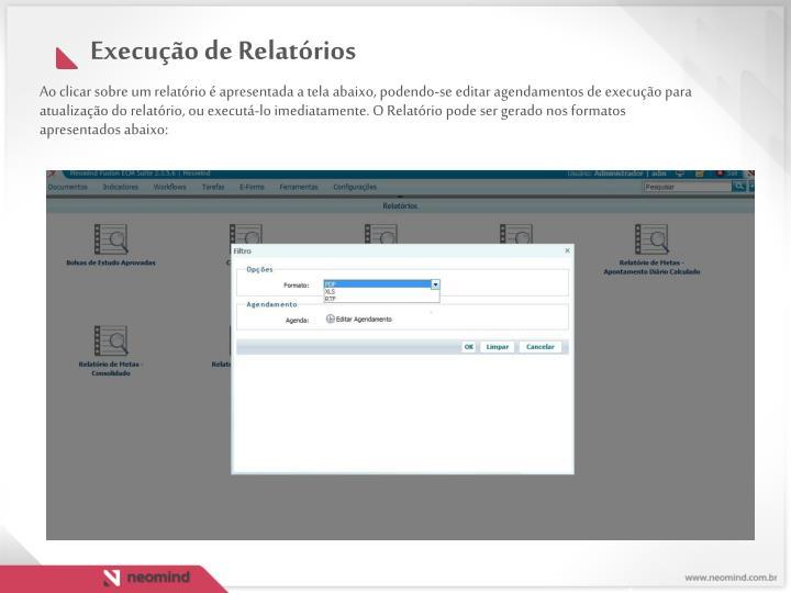 Ao clicar sobre um relatório é apresentada a tela abaixo, podendo-se editar agendamentos de execução para atualização do relatório, ou executá-lo imediatamente. O Relatório pode ser gerado nos formatos apresentados abaixo: