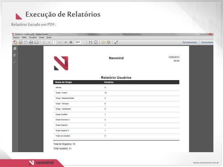 Relatório Gerado em PDF: