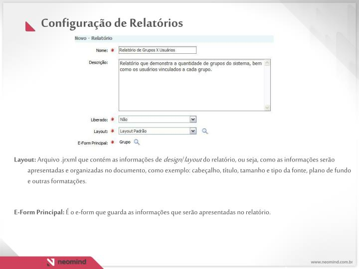 Configuração de Relatórios