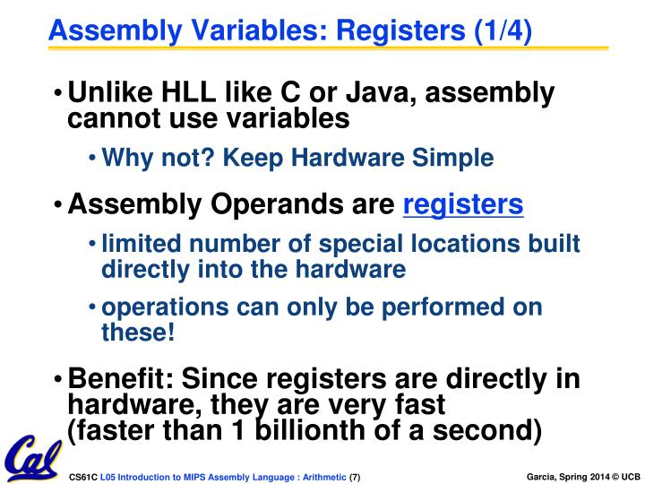 Assembly Variables: Registers (1/4)