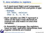 c java variables vs registers