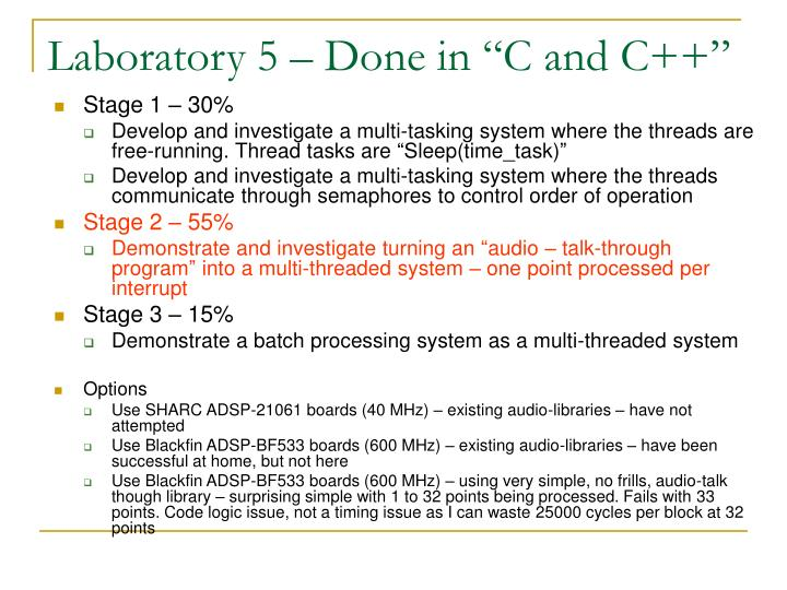 """Laboratory 5 – Done in """"C and C++"""""""