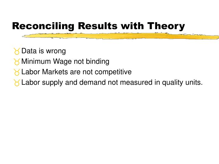 Reconciling Results with Theory