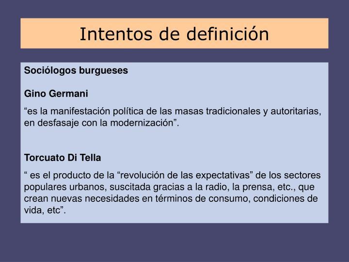 Intentos de definición