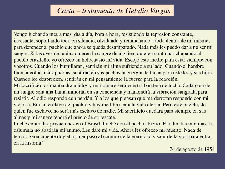 Carta – testamento de Getulio Vargas