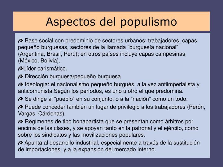 Aspectos del populismo