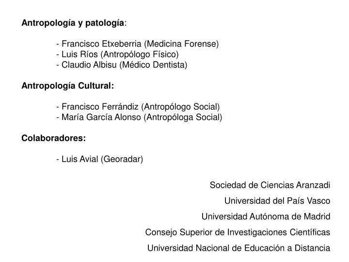Antropología y patología