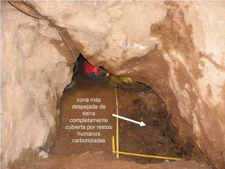 zona más despejada de tierra completamente cubierta por restos humanos carbonizadas