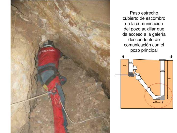 Paso estrecho cubierto de escombro en la comunicación del pozo auxiliar que da acceso a la galería descendente de comunicación con el pozo principal