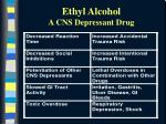 ethyl alcohol a cns depressant drug