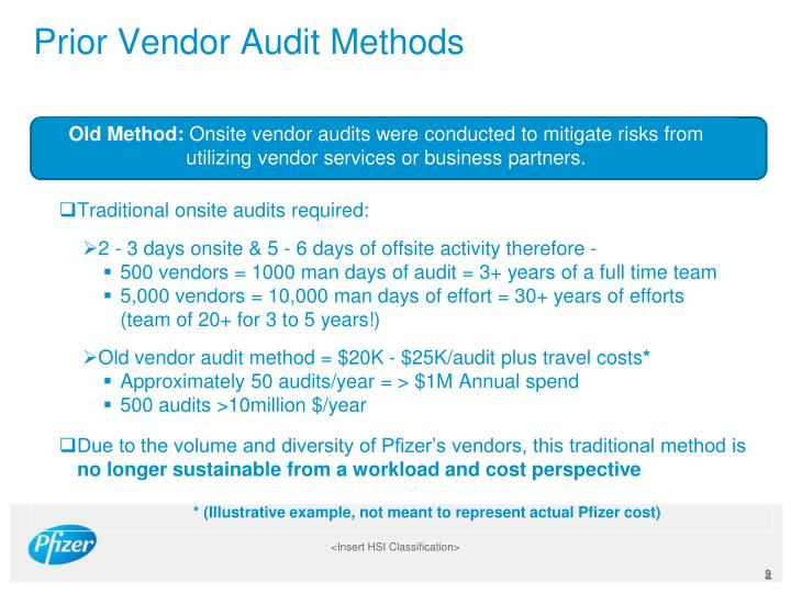 Prior Vendor Audit Methods