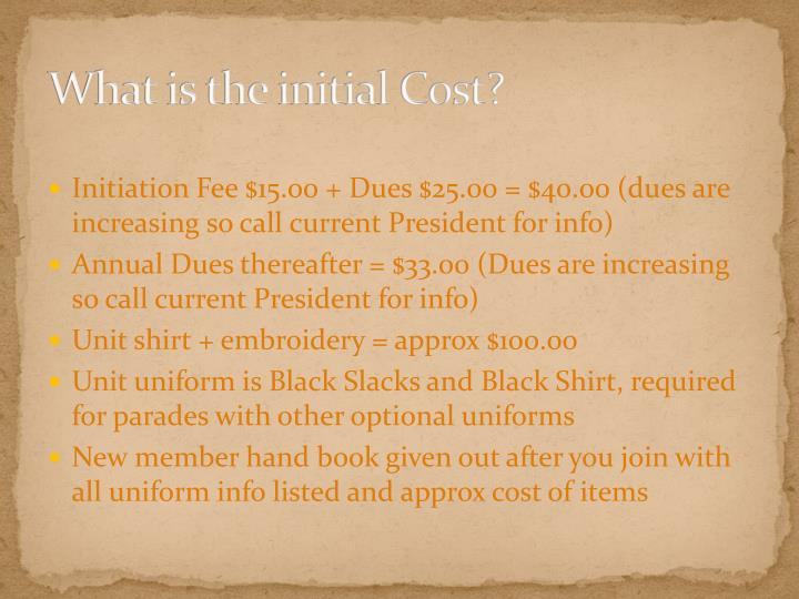 What is the initial Cost?