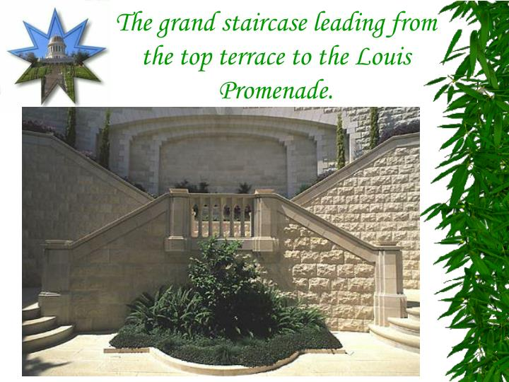 The grand staircase leading from the top terrace to the Louis Promenade.