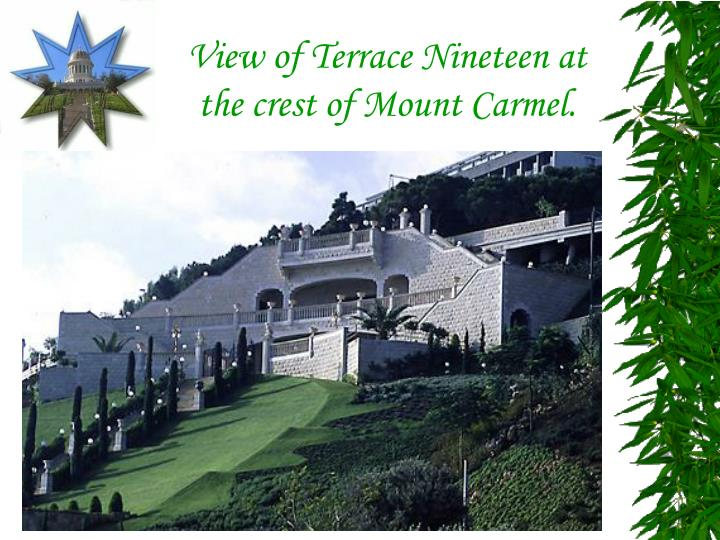 View of Terrace Nineteen at the crest of Mount Carmel.