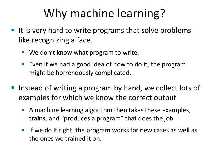 Why machine learning