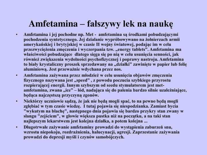 Amfetamina – fałszywy lek na naukę