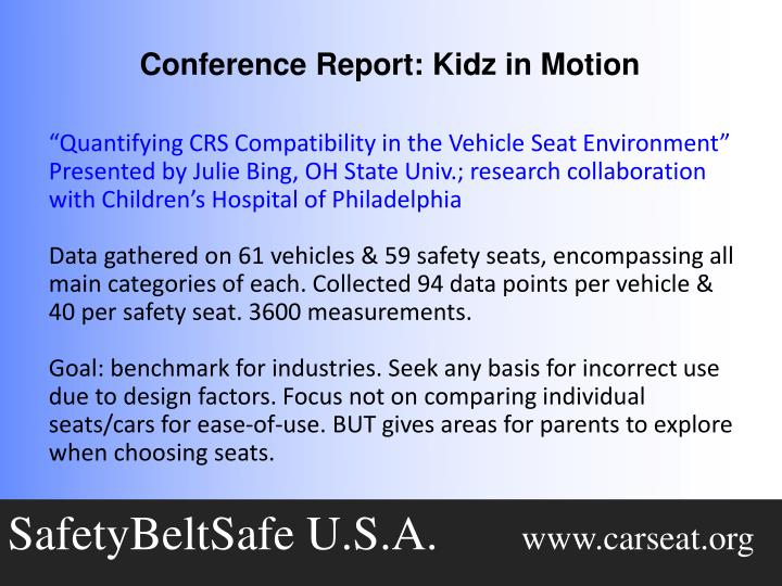 """Quantifying CRS Compatibility in the Vehicle Seat Environment"""
