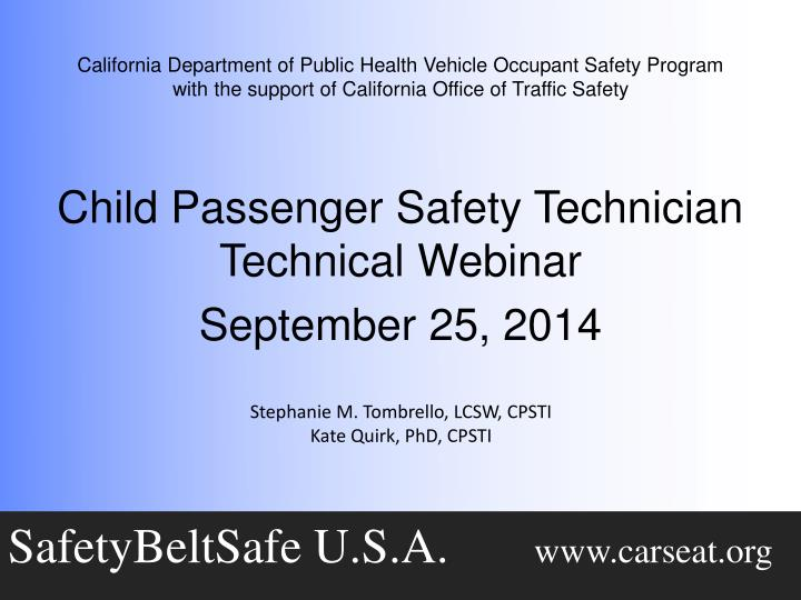 California Department of Public Health Vehicle Occupant Safety Program
