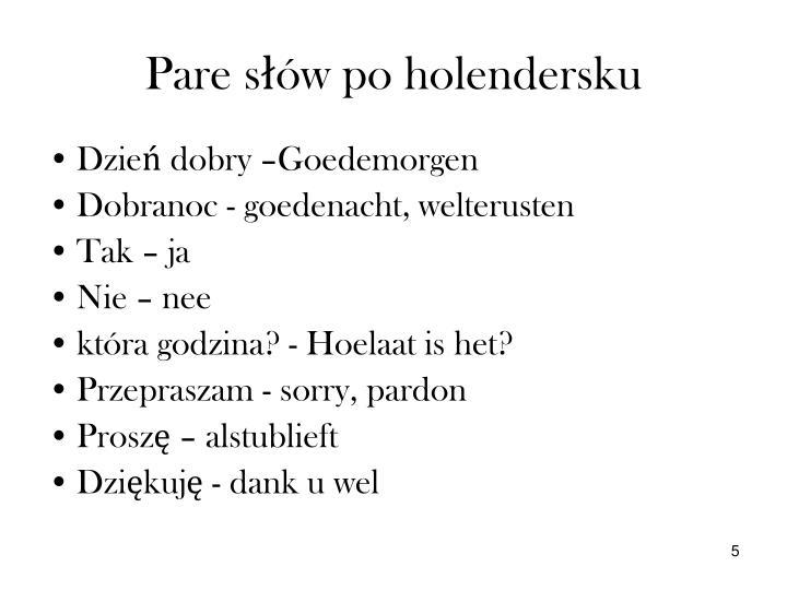 Pare słów po holendersku