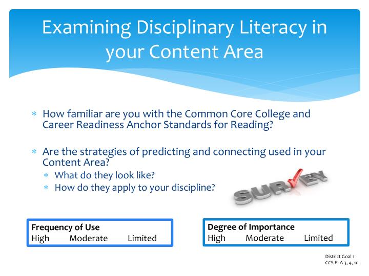 Examining Disciplinary Literacy in  your Content Area