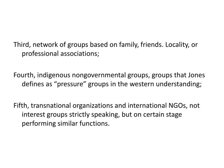 Third, network of groups based on family, friends. Locality, or professional associations;