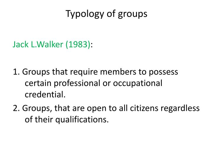 Typology of groups