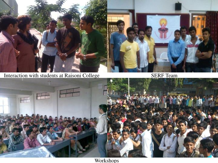 Interaction with students at Raisoni College