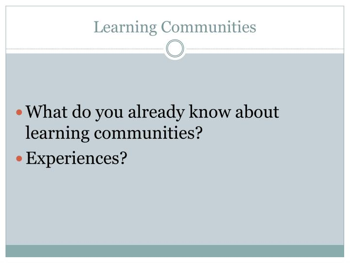 Learning communities1