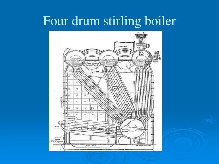 Four drum stirling boiler