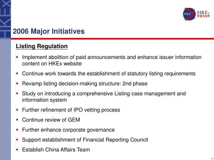 2006 Major Initiatives