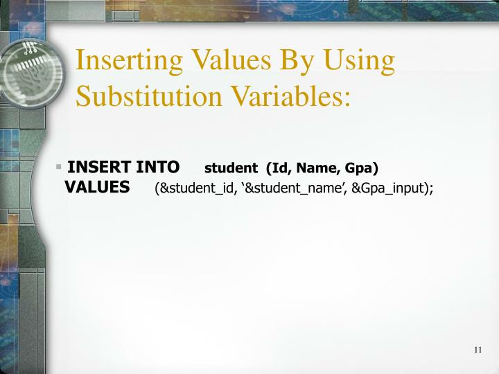 Inserting Values By Using Substitution Variables: