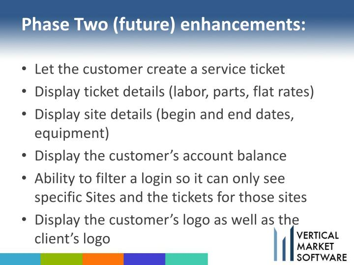 Phase Two (future) enhancements: