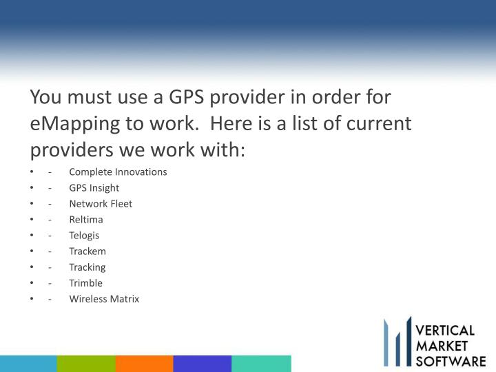 You must use a GPS provider in order for