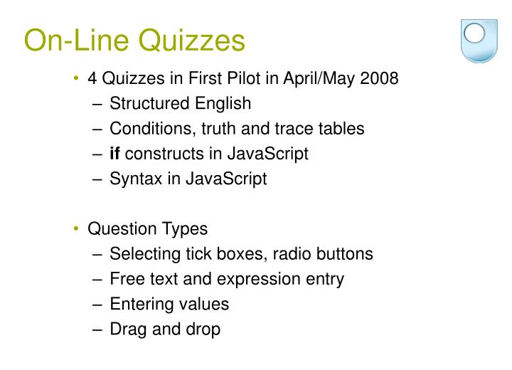 On-Line Quizzes