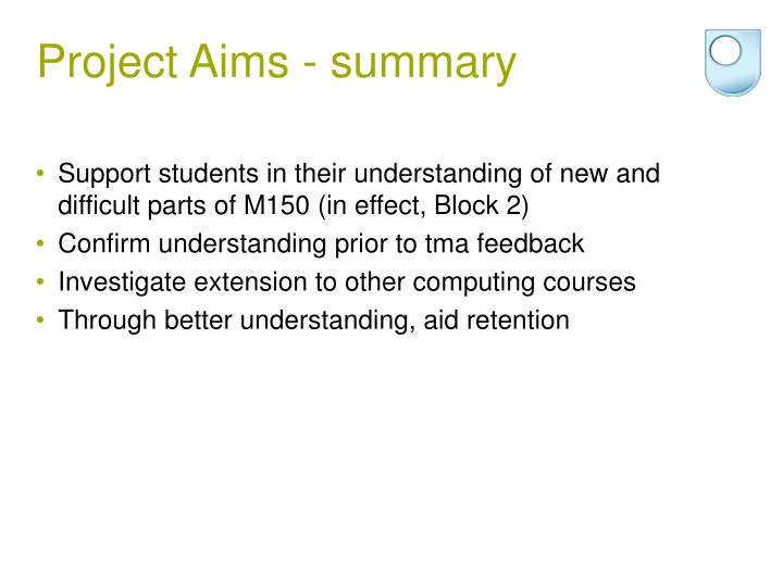 Project aims summary