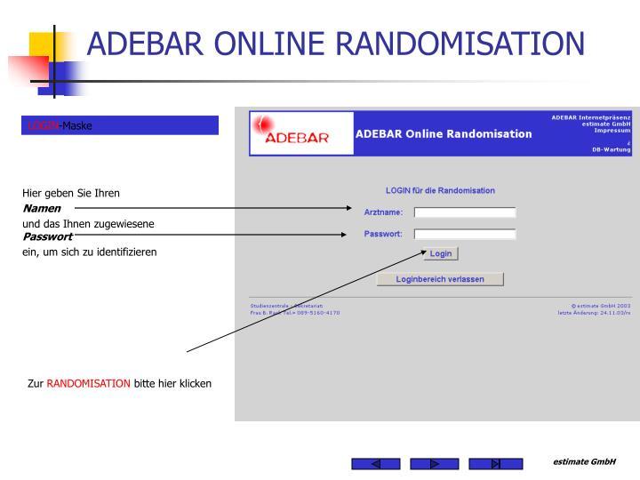 ADEBAR ONLINE RANDOMISATION