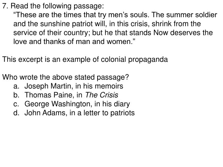 7. Read the following passage: